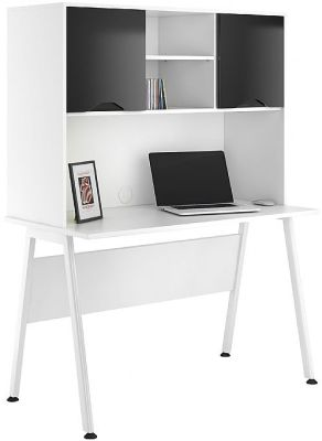 Aspire Reflections Desk With Opverhead Cupboard With Gloss Black Doors