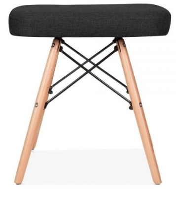 Eames Low Stool Black Fabric Side View