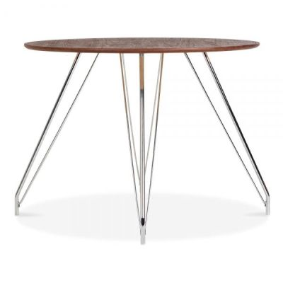 Oslo Tabnle With Walnut Top And Metal Legs 3