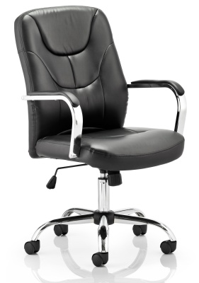 Paris Black Leather Executive Chair Front Angle