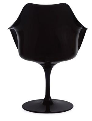 Black Tulip Chair With A Black Cushion Rear View