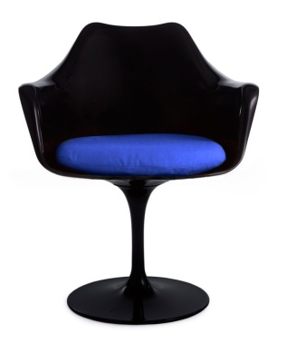 Tulip Chair With A Blue Cushion Freont Shot