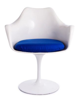 Tlip Chair With A Blue Cushion Front Face Shot