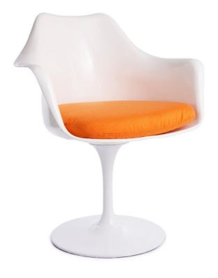 Tulip Chair With An Orange Seat And White Shell Front Angle View