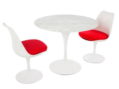 Tulip Dining Set With A Marble Top And Two Dining Chairs With Red Cushions