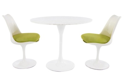 Tulip Dining Set With Two Chairs With Green Cushions And A Marble Top