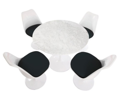 Tulip Set Of Four Chair With Black Cushions And A Round Table 900mm Diameter