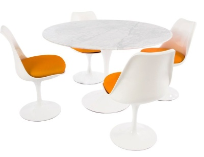 Dioning Set With Four Chairs With Orange Fabric And A Round Tabe With A Marble Top - 1200mm Diamter