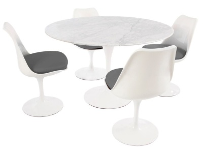 Tulip Dining Set Comprising Four Chairs With Grey Gfabric Seats And A Round Table 1200mm Diameter