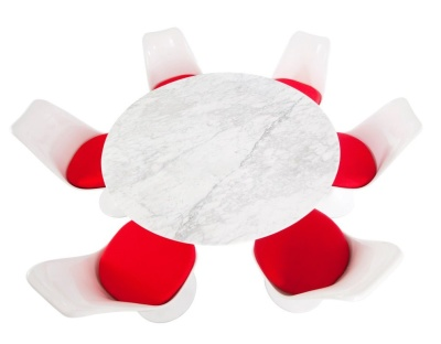 Tulip Dining Set With Six Tulip Chairs With Red Seats And A Large Round Tulip Table With A Marable Top