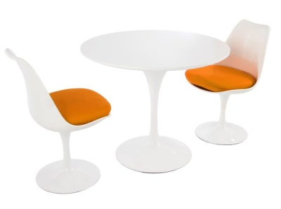 Tulip Dining Set With Two Chairs With Orange Seats And A Round Tulip Table With A High Gloss White Top