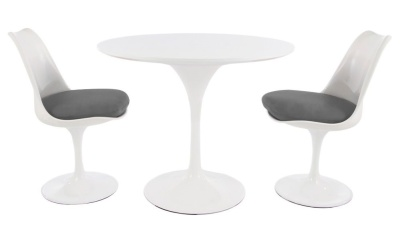 Tulip Dining Set With Two Tyulip Chairs With Grey Cushions And A Round Table With A Gloss White Top