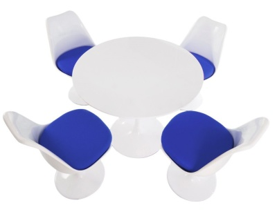 Tulip Dining Set With Four Chairs Wityh Blue Fabric Cushions And A 900mm Round Table