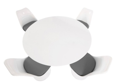 Tu;lip Ldining Set With Four Tulip Chairs With Grey Fabric Seats And A Large Round Table