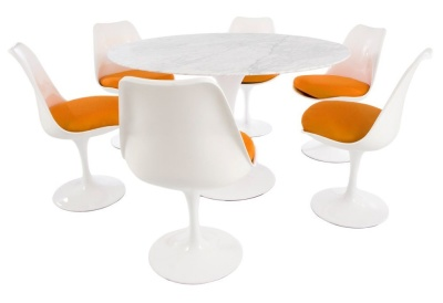 Tulip Dining Set With A Large Round Tulip Table With A Marble Top And Six Tulip Chairs With Orange Seats
