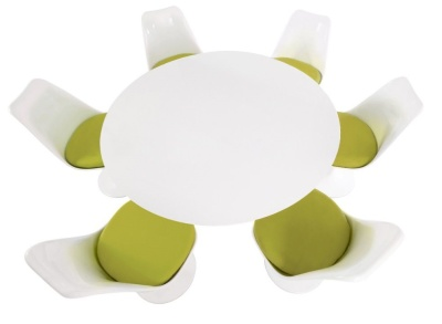 Tulip Dining Set With Six Chairs With A Green Fabric Seats And A Large Dining Table With A White Top