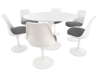Tulip Dining Set Of Six Chairs With Grey Fabric And A Large Round Table With A White Top