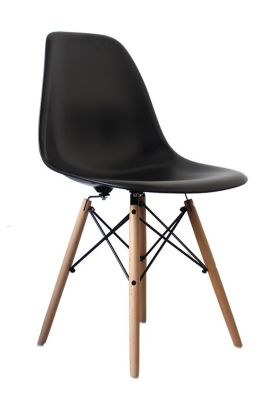 Eames Inpred DSW Childrens Chair In Black Front Angle View