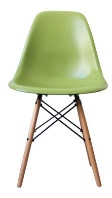 ,eames Inspired Dsw Chair With A Green Sdeat Front View