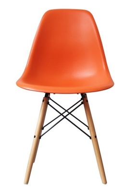 Eames Inspired Dsw Childs Chair Wjith An Orange Seat Front Shot