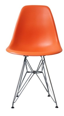 Eames Inspired DSR Childs Chair With An Orange Seat Front View
