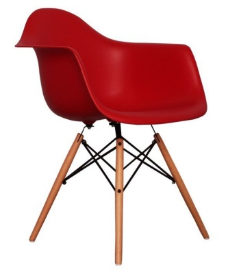 Eames Inspired DAW Childs Chair In Red Angle View