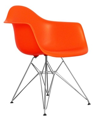 Eames Inspired Dar Childs Chair In Orange Angle View