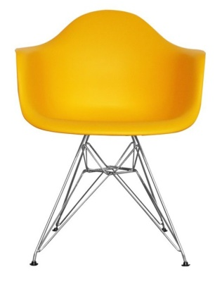 Eames Inspired DAW Junior Chair In Yellow Front View