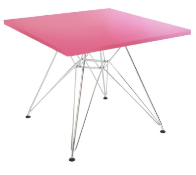 Eames Junior Dsr Square Table With A Pink Top Angle View