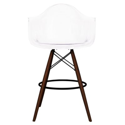 Eames Inspired DAW High Stool With A Clear Shell And Walnut Legs Freont View
