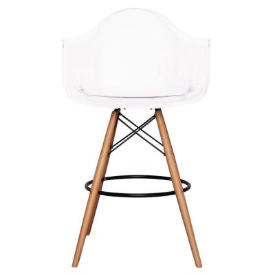 Eames Inspired DAR High Stool With A Clear Seat Front View
