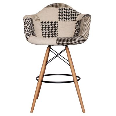 DAW High Stool With A Black And White Fabric Seat Front View