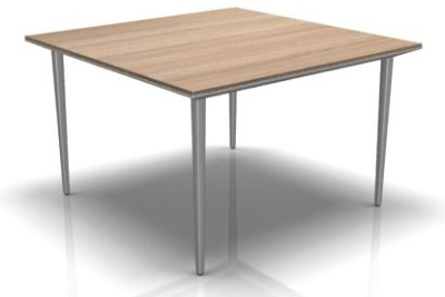 Longo Square Table With A Chesnut Top And Silver Legs