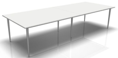 Longo Large Meeting Table White Top And Silver Legs