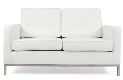 Florence Knoll Two Seater Sofa In White Leather Front View