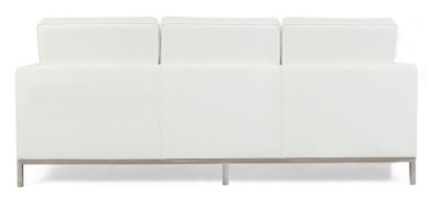 Florence Knoll Three Seater Sofa In White Leather Rear View