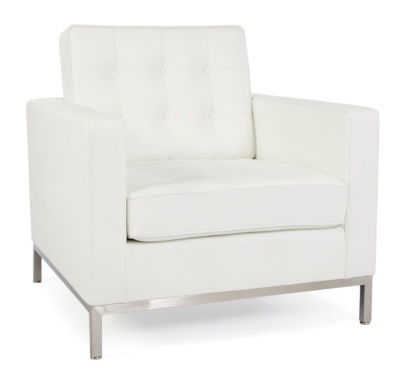 Flortence Knoll Single Karmchair In White Leather Angle View