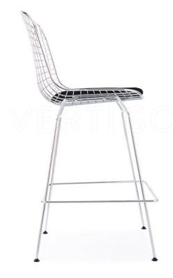 Wire High Stool With Black Faux Leather Seat Side Vidw