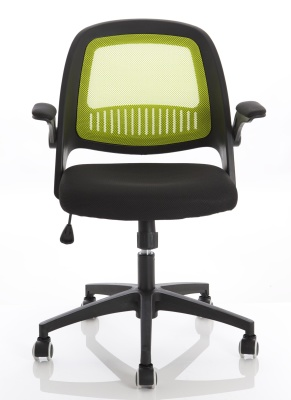 Contect Mesh Chair With A Lime Green Back Front View