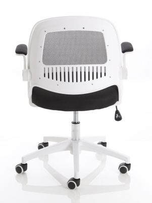 Context Chair With A White Frame And Black Mesh Rear View