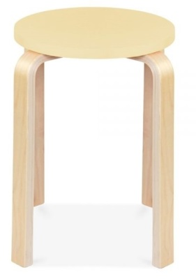 Chill Wooden Stool With A Yellow Seat