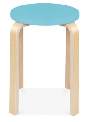 Chill Wooden Stool With A Light Blue Seat