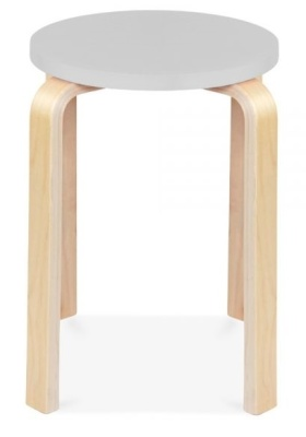 Chill Wooden Low Hstool With A Grey Seat
