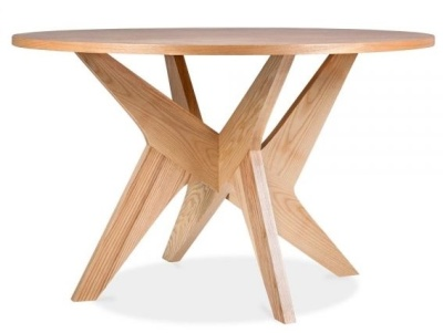 Icon Round Dining Table In A Natural Finish 1