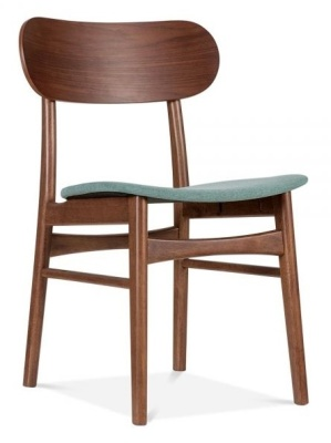 Ontarioo Wooden Dining Chair With Teal Seat Front A Ngle