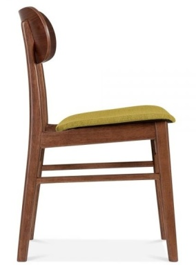 Ontaqrio Dining Chair With Abn Olive Fabric Seat Side View
