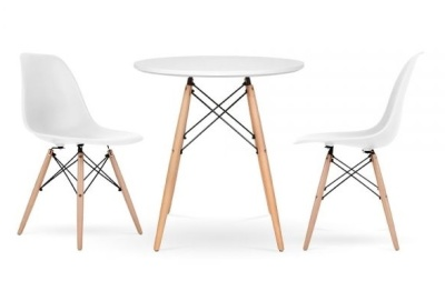 Eames White DSW Two Person Dining Set