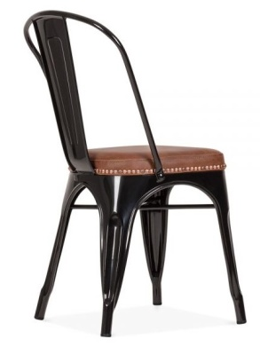 Xavier Pauchard Side Chair In Black With A Brown Faux Leather Seat Rear Angle