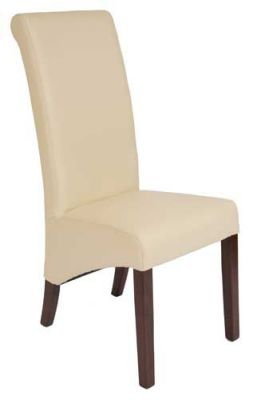 Eton Leather Chair Ivory Leather Angle View