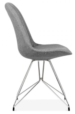 Geometric Upholstered Chairs Grey Fabric Side View